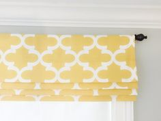 Your choice of fabric (up to 10 dollars/yard) included! Faux Roman Shades, Pool Remodel, Yellow Curtains, Kitchen Wall Art, Kitchen Redo, Kitchen Remodel, Roman Blinds, Ribbon Colors, Valance