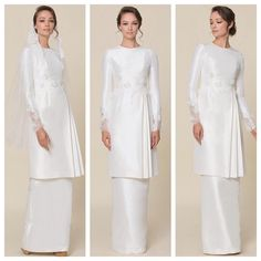 New Fashion Modest White Blouses Ideas Malay Wedding Dress, Kebaya Wedding, Muslimah Wedding Dress, Muslim Wedding Dresses, Muslim Dress, Wedding Gowns, Bridesmaid Dresses, Kebaya Dress, Lace Bride