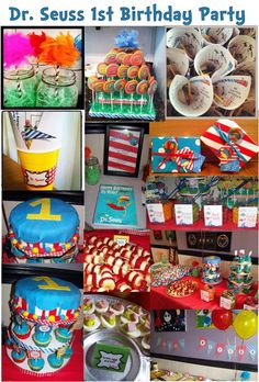 I'm so excited to share my daughter's Dr. Seuss themed 1st Birthday Party! Every single thing pictured was handmade by myself. I got lots of ideas and designs from the internet and had a few good ones of my own. :)