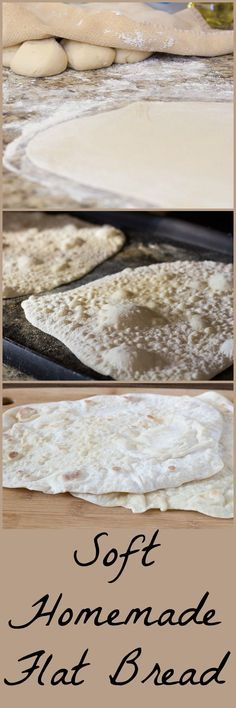 Thin soft yeast flatbread cooked on a hot griddle or skillet. Easy enough for beginner cooks. Keep some in the freezer for fast homemade flatbread pizzas in a flash! Easy Flatbread Recipes, Healthy Bread Recipes, Yeast Bread Recipes, Flatbread Pizza, Cooking Recipes, Flatbread Ideas, Kitchen Recipes, Cooking Tips, Low Fat Chicken Recipes