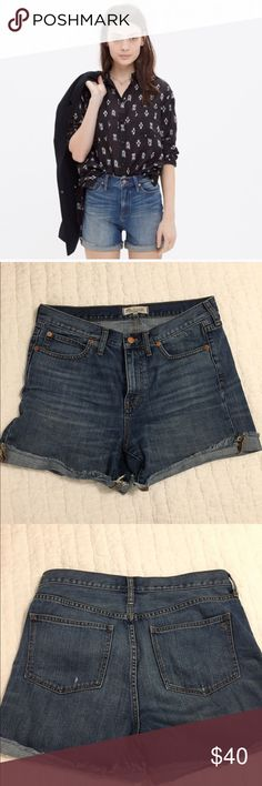 "Madewell high-rise denim cutoff shorts - EUC In excellent used condition, these high-rise Madewell denim shorts are perfect for summer! 4"" inseam, can be rolled as shown or let down. Definitely love these but are a bit too big. I'd say they run a bit large, depending on how you like your fit 😊 Madewell Shorts"
