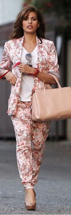 flower printed trousers and blazer eva mendes - Google Search