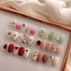 Pin by YuliaFeso on ✧ nails ✧ Nail Jewels, Nail Art Rhinestones, Rhinestone Nails, Bling Nails, Swag Nails, Korean Nail Art, Korean Nails, Trendy Nail Art, Stylish Nails