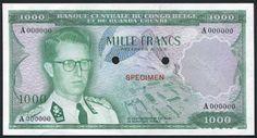 Belgian Congo Banknotes notes 1000 Francs King Baudouin I