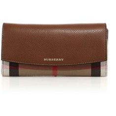 Burberry Porter Leather & House Check Continental Wallet ($515) ❤ liked on Polyvore featuring bags, wallets, apparel & accessories, black, leather wallet, burberry wallet, continental wallet, credit card holder wallet and 100 leather wallet