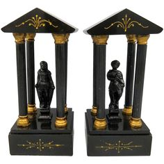 Black Onyx Marble Bookends with Columns and Statues Greek Roman Revival