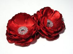 Red Wedding Hair Clip  Hair Pin for Bride by TreasuredMemoryLane, $27.00