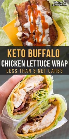 Poulet Keto, Buffalo Chicken Lettuce Wraps, Bacon Lettuce Wraps, Lettuce Wrap Recipes, Veggie Wraps, Low Carb Meal, Courge Spaghetti, Spaghetti Squash, Comida Keto