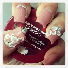 Acrylic Body Butter, Cherry Blossom, Moisturizer, Nail Designs, Nails, Moisturiser, Finger Nails, Ongles, Nail Design