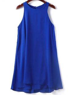 Round Collar Sleeveless Solid Color Dress #womensfashion #pinterestfashion #buy #fun#fashion