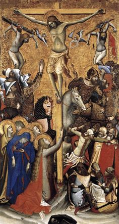 VITALE DA BOLOGNA Crucifixion c. 1335 Tempera on panel, 93 x 51 cm Museo Thyssen-Bornemisza, Madrid This busy and crowded composition is filled with anecdotal detail. In the soldiers' uniforms and the caparison worn by the horse to the left of the cross, Gospel Of Luke, High Middle Ages, Web Gallery, European Paintings, Italian Renaissance, Bologna, Orthodox Icons, Italian Artist, Museums