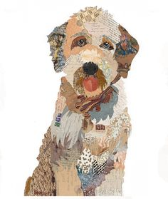 Brenda Bogart is an artist who is known for her lively portraits in oil on canvas and mixed media collages. Her artwork is available at Blue Print Gallery. Dog Quilts, Animal Quilts, Paper Collage Art, Art Collages, Collage Drawing, Wall Collage, Landscape Quilts, Dog Portraits, Art Plastique
