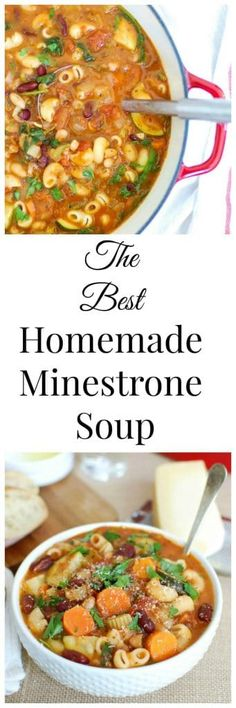 This Homemade Minestrone Soup Recipe is a tomato base hearty soup that is packed with vegetables and beans. If you love a traditional Italian minestrone soup then you will love this version! // A Cedar Spoon (Italian Recipes Traditional) Healthy Recipes, Chili Recipes, Soup Recipes, Dinner Recipes, Cooking Recipes, Ministroni Soup Recipe, Potato Recipes, Delicious Recipes, Crockpot Recipes
