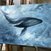 Dream of whales von anna mysskaya oiloncanvas whale whales oilpainting lwe aquarell simba thelionking amkaartist Whale Painting, Painting & Drawing, Acrylic Painting Animals, Whale Art, Wale, Wow Art, Beginner Painting, Ocean Art, Acrylic Art