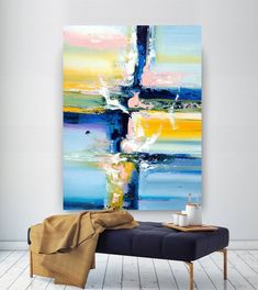 Extra Large Wall Art Original Art Bright Abstract Original Painting On Canvas Extra Large Artwork Contemporary Art Modern Home Decor Large Abstract Wall Art, Contemporary Abstract Art, Canvas Wall Art, Wall Art Prints, Abstract Paintings, Canvas Paintings, Texture Painting On Canvas, Painting Art, Hallway Art