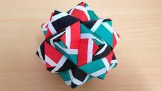 折り紙のくす玉 薗部式 裏出しライン 30ユニット 折り方 Origami Kusudama sonobe inside out line 30...