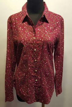 Eddie Bauer Burgundy Green Pink Floral Pinch Pleat Sheer Cotton Dress Blouse M #EddieBauer #Blouse #CareerDress