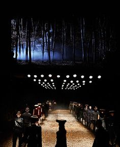 London- McQ fashion week set the forest with the fog! silhouette and color (cool), mysterious and ethereal.