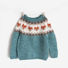 Kids Knitting Patterns, Baby Sweater Patterns, Baby Clothes Patterns, Knitting Kits, Knitting For Kids, Baby Sweater Knitting Pattern, Crochet Pattern, Fox Sweater, Knit Baby Sweaters