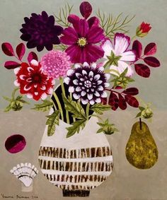Panter & Hall: Vanessa Bowman: Dahlias, Cosmos and Pears Flower Images, Flower Art, Charity Christmas Cards, Still Life Artists, Plant Illustration, Fruit Art, Naive Art, Floral Design, Textile Design