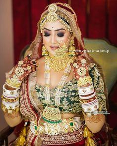 Indian Bridal Photos, Indian Bridal Outfits, Indian Bridal Fashion, Indian Bridal Wear, Bridal Makeup Images, Bridal Makeup Looks, Indian Bridal Makeup, Rajasthani Bride, Rajasthani Dress
