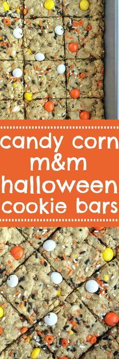 These festive candy corn m&m Halloween cookie bars are sure to be a hit! A soft, thick, chewy cookie bar loaded with candy corn m&m's, Halloween sprinkles, chocolate chips and peanut butter. Perfect treat for Halloween parties or just because | togetheras