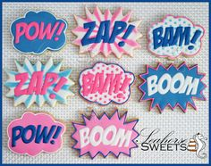 Super Hero Fight Bubble Cookies quantity: 12 Pow by SeahorseSweets