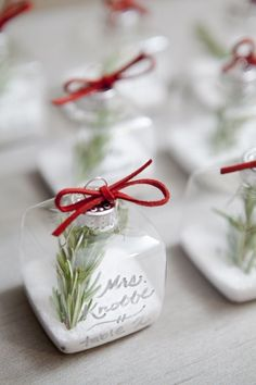 christmas themed wedding ornament escort or place cards