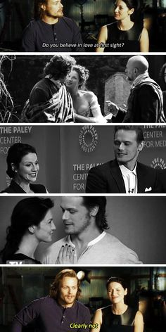 """[GIFSET] """"Do you believe in love at first sight?"""" - Come on Cait! 'Fess it up already! :) #Outlander"""