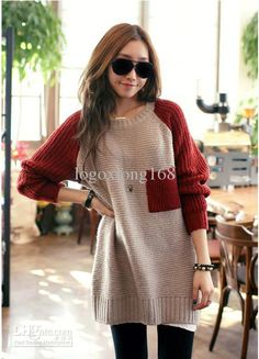 Wholesale New 2012 fashion women's sweaters CREW NECK LONG SWEATER JUMPER, Free shipping, $10.45-12.2/Piece | DHgate