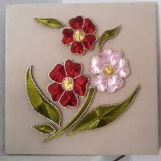 Crewel Embroidery, Ribbon Embroidery, Embroidery Designs, Feather Painting, Thread Painting, Hobbies And Crafts, Arts And Crafts, Contemporary Art Forms, String Crafts