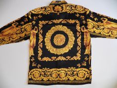 versace style mens large 100 silk shirt vintage rare by style1000, $350.00