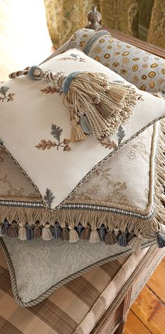 Traditional pattern blending in all neutral using lavish trims.