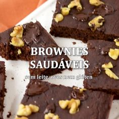 Brownie Sem Gluten, Vegetarian Recipes, Cooking Recipes, Vegan Foods, Going Vegan, Breakfast Recipes, Food Porn, Food And Drink, Tasty