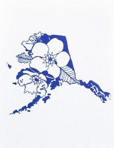 Alaska Letterpress State Flower Print