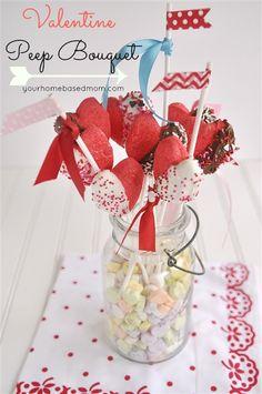 Valentine Peeps Bouquet @yourhomebasedmom  #peeps,#valentines