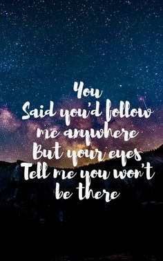 You Said you'd follow me anywhere But your eyes Tell me you won't be there... Without you.  Avicii.