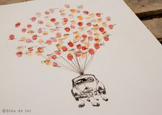Love this idea for a guestbook, I wonder if she could customize it to look like my bug?  Volkswagen Love Bug Fingerprint Balloon, Original Guest book thumbprint balloon (inks available separately)