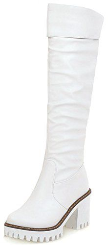 Summerwhisper Women's Trendy Plain Round Toe High Block Heel Platform Knee High Biker Boots White 5 B(M) US ** Be sure to check out this awesome product.
