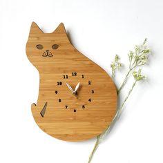 Cat Clock Modern Wall Clock wooden wall decor от decoylab на Etsy