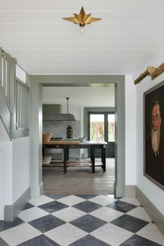 Design by Tom House. Black and white checkered floors Home Living, Living Spaces, Flur Design, Design Design, Design Ideas, Checkerboard Floor, Checkered Floors, Checkered Floor Kitchen, Casa Patio