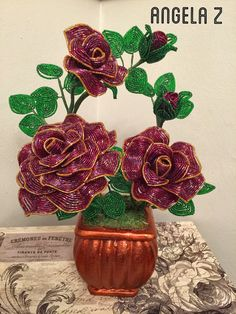 French Beaded Rose arrangement hand made in by ANGELSBEADSFLOWERS