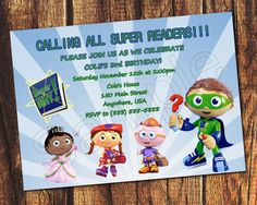 54 best birthday party ideas super why images on pinterest super why inspired printable birthday invitation by suzz377 super why birthday super why party filmwisefo