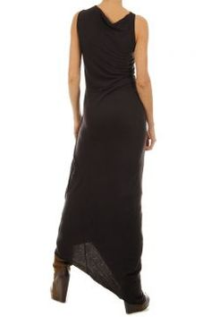 Sleeveless long black dress by Rick Owen