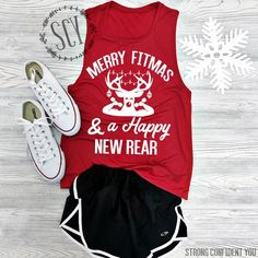 Merry Fitmas and a Happy New Rear.   Fitness tee. Ladies muscle tank. New Years shirt. Funny Christmas shirt.