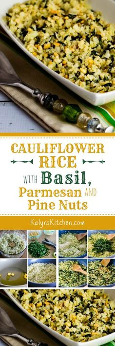 Cauliflower Rice gets a big flavor boost with Basil, Parmesan, and Pine Nuts; this is a perfect low-carb and gluten-free side dish for a special meal. [found on KalynsKitchen.com] #CauliflowerRice #CauliflowerRiceBasil #CauliflowerRicePineNuts