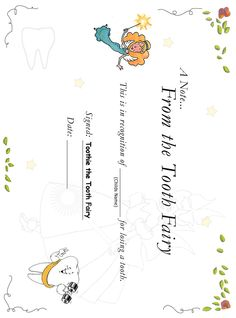 Free Tooth Fairy Certificate - Saving Advice Forums
