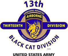 """13th Airborne Division (WW II ) """" Black Cat Division"""" United States Army Shirt"""