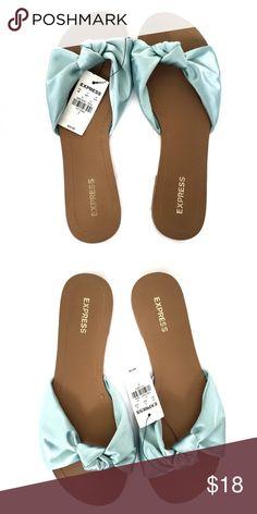 bca5d6f183fd34 Express Satin Bow Slide Sandal Express Satin Bow Slide Sandal Flat Heel  Blue Green Express Shoes