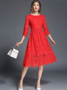 The enthusiasm is needed in life, and red color stands for enthusiasm. have a energetic day with red dress Dress Brukat, Dress Outfits, Fashion Dresses, Midi Dress With Sleeves, Lace Midi Dress, Red Colour Dress, Red Color, Zig Zag Dress, Rajputi Dress